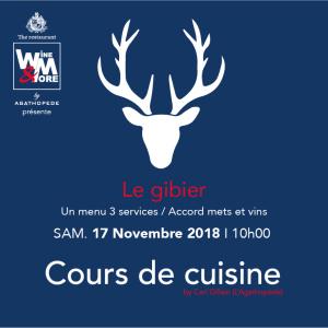 Cours de cuisine avec Carl Gillain - Gibier @ Wine and More   Namur   Wallonie   Belgique