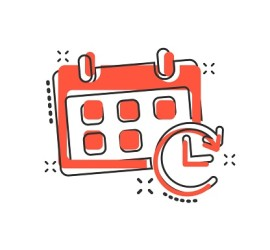 Vector cartoon calendar icon in comic style. Reminder agenda sign illustration pictogram. Calendar business splash effect concept.